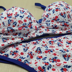 Viés Azul Bic Floral/ Bic e Fucsia