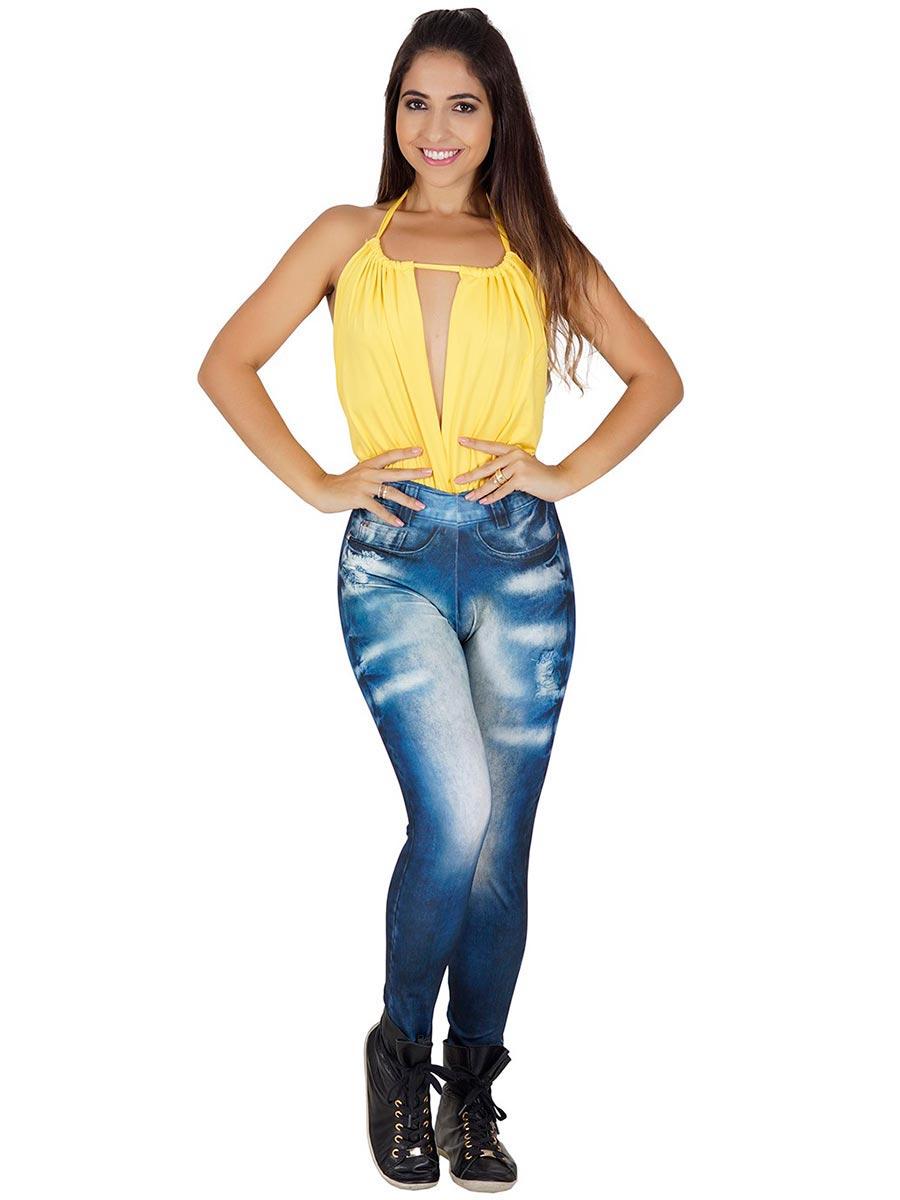 Calça Fitness Fake Jeans Carol
